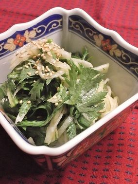 春菊と大根のごまポン酢サラダ|レシピブログ