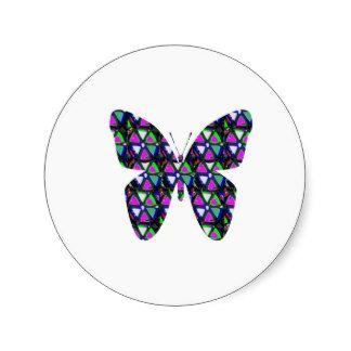 Birds Animals Butterfly Star Pink Graphic Elephant Round Sticker