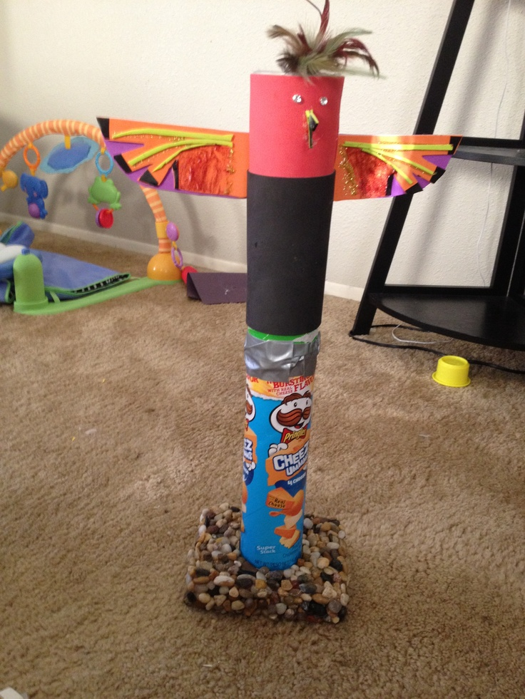Totem pole project with Pringles can