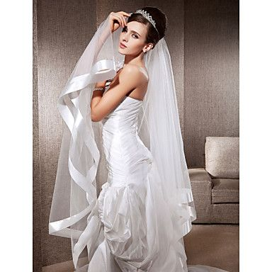 One-tier Fingertip Wedding Veils With Ribbon Edge – USD $ 14.99