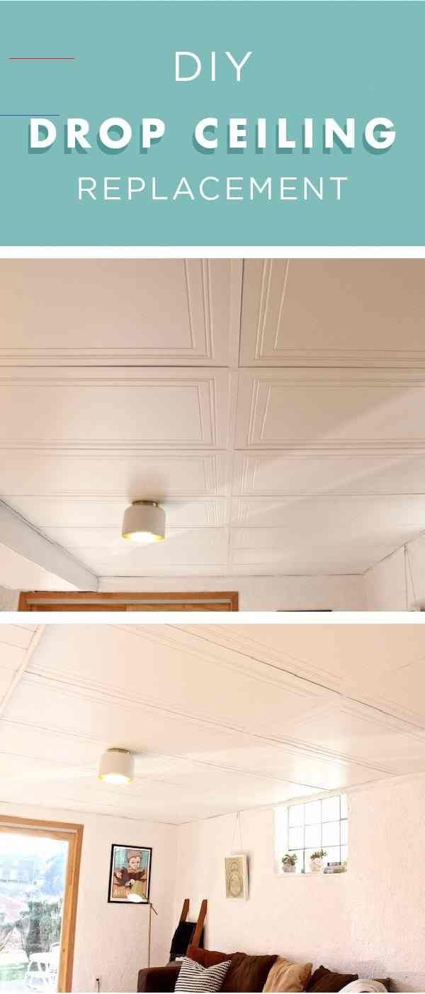 If You Re Sick Of Looking At Your Outdated Drop Ceiling Then Check Out This Diy Drop Ceiling Replacement Tutorial Fr Kellerdecke Kellerumbau Keller Deko Ideen