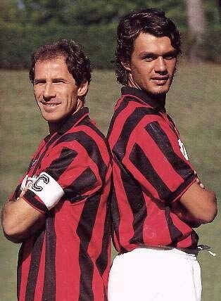 I due capitani: Franco Baresi e Paolo Maldini. If you were an attacker in those days the two defenders you would not want to have opposing you are these two.