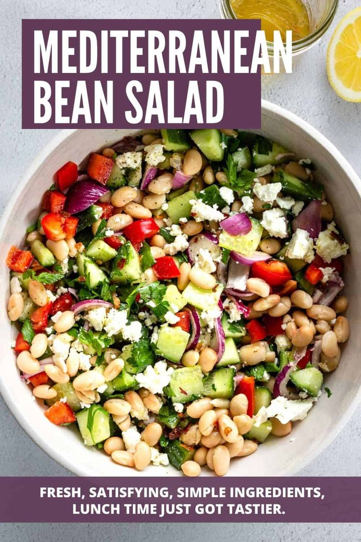 A satisfying Mediterranean Bean Salad perfect for lunch, an outdoor bbq, or a picnic. Serve as a tasty side dish with gr…