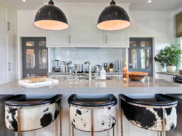 Calvin Leather Cowhide Barstools - So Comfortable!