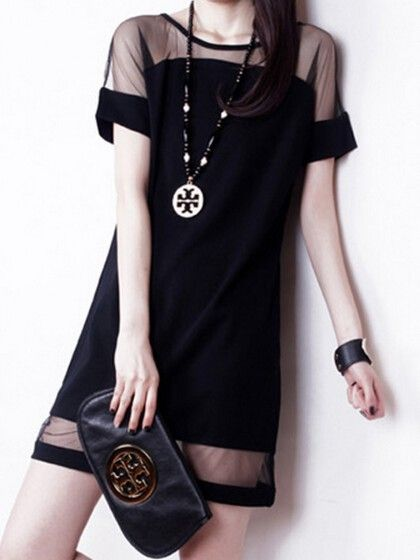Black Shift Dress with Contrast Mesh Panel