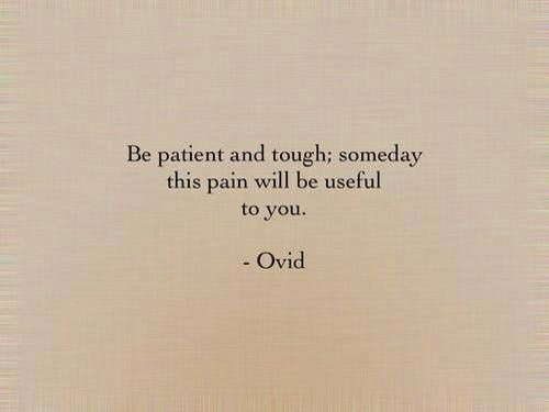 Be patient and tough, someday this pain will be useful to you