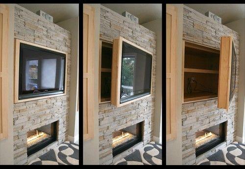 Hidden Storage + Swinging TV Cabinet - modern - living room - portland - Jordan Iverson Signature Homes