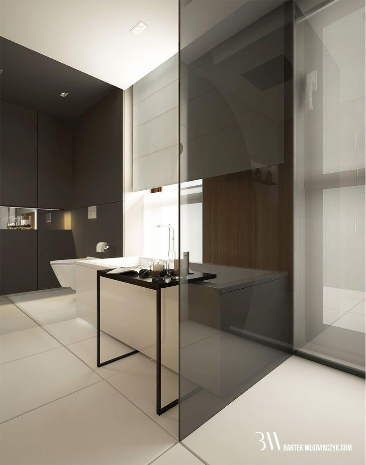 Minimalistyczna łazienka z podłogą Block White firmy Marazzi, wanną Squaro Slin firmy Villeroy&Boch, zarnym pomocnikiem i szybą wieloformatowa oddzielającą od prysznica