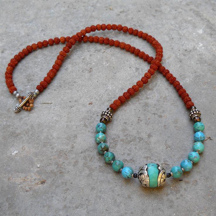 108 bead necklace, rudraksha, genuine turquoise, and Tibetan capped Turquoise guru bead.