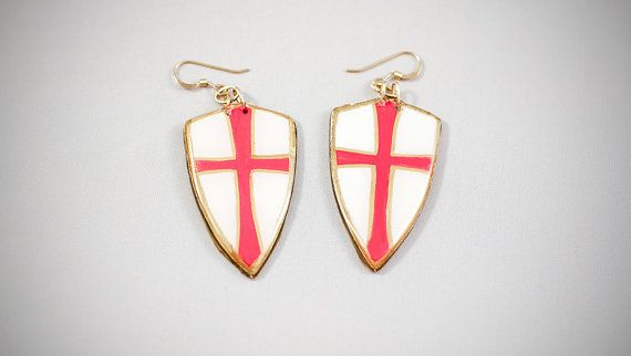 #handmade #heraldic #knightstemplar #earrings #thesilverlance #etsy