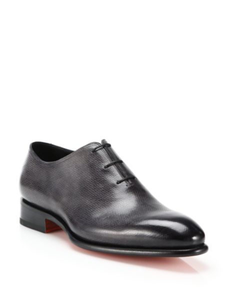 Santoni Carter Pebbled Leather Lace-Up Loafers - Charcoal - Size 1