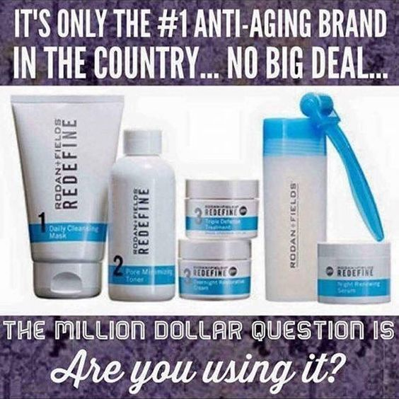 Looking to get rid of your wrinkles, fine lines, and sagging skin? Look no further! Rodan and Fields Redefine is the way to go. Love it or your money back!