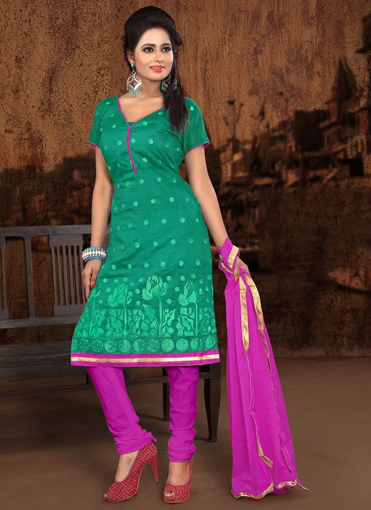 http://www.sareesaga.com/index.php?route=product/product&product_id=18894 Work	:	Embroidered Lace	 Style	:	Churidar Suit Shipping Time	:	10 to 12 Days Occasion	:	Party Casual Fabric	:	Cotton	 Colour	:	Sea Green For Inquiry Or Any Query Related To Product,  Contact :- +91 9825192886