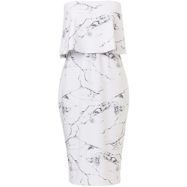 MARBLE BANDEAU DRESS (115 NZD) ❤ liked on Polyvore featuring dresses, layered dress, marble print dress, strapless bandeau dress, stretch dress and exposed zipper dress