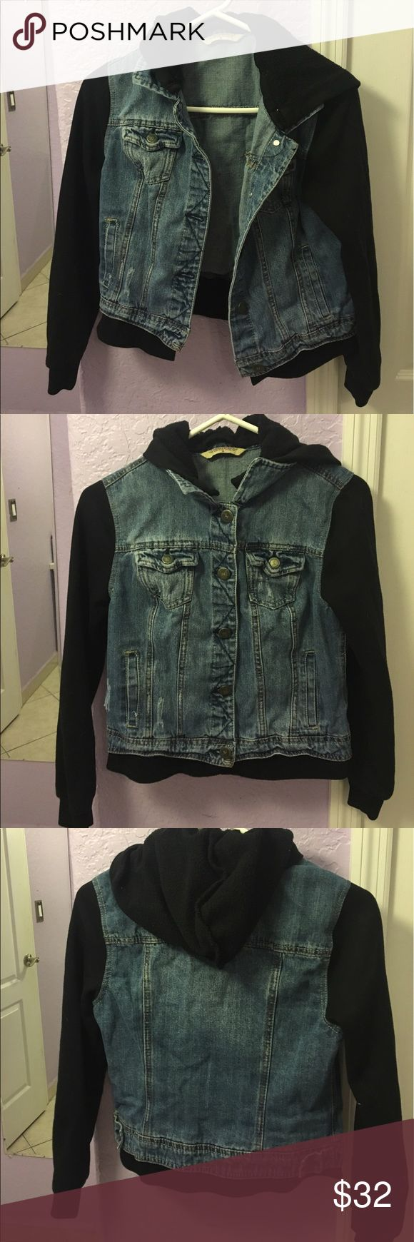 Hooded jean jacket Hooded jean jacket. Very warm and comfortable. Worn 3 times. Tilly's Jackets & Coats Jean Jackets