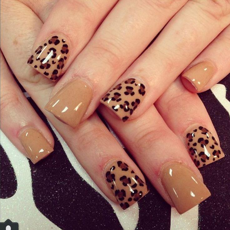 Tan cheetah nail art