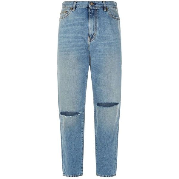 Saint Laurent Straight High-Rise Ripped Knee Jeans ($660) ❤ liked on Polyvore featuring jeans, high waisted ripped jeans, blue high waisted jeans, distressed denim jeans, high-waisted jeans and high rise jeans