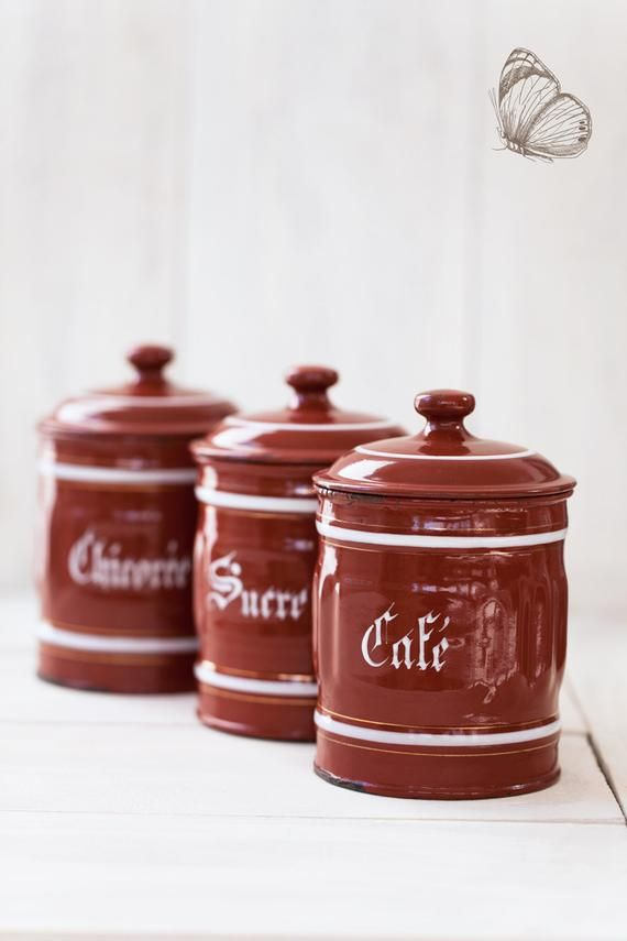 1940s Vintage French Enamel Kitchen Canisters Set Of 3 Burgundy Coffee Sugar And Chicory Free French Enamel Kitchen Canister Sets Kitchen Canisters