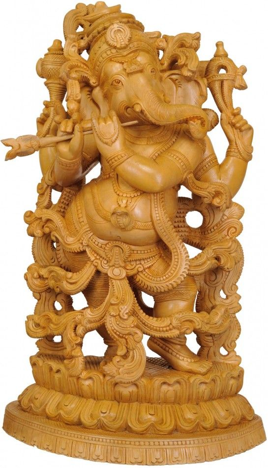 Lord Ganesha Playing Flute, Carved Wooden Sculpture