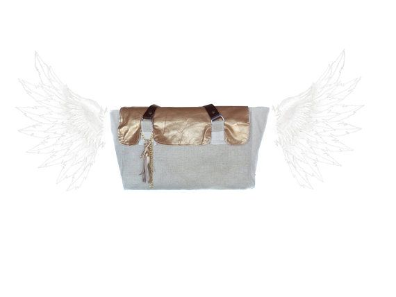 LEATHER Tote Bag Metallic Goldenrod  medium tote  by dawnaparis, €80.00