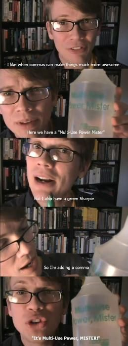 The power of a comma, presented by Hank Green :)