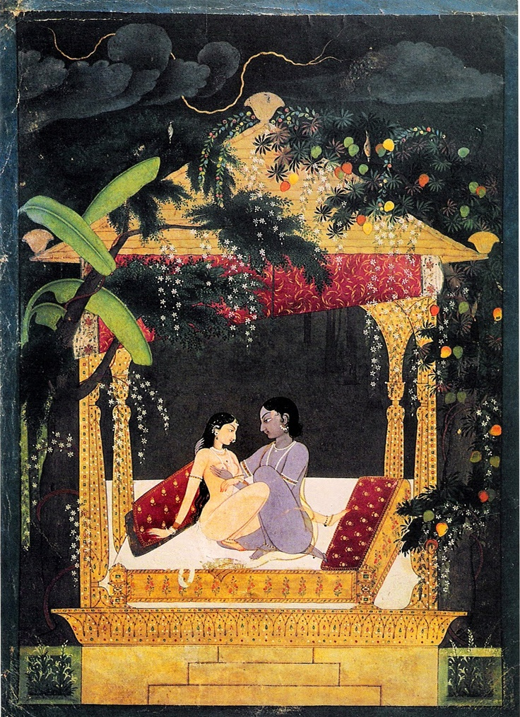 HINDU PAINTING: Krishna and Radha in a Pavilion is an 18th-century Indian painting depicting the two Hindu deities Krishna and Radha engaged in sexual intercourse.