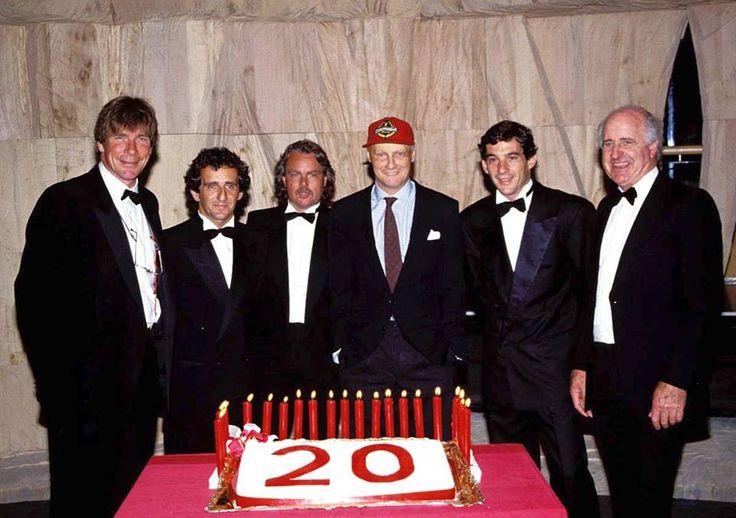 James Hunt , Alain Prost, Keke Rosberg,Niki Lauda, Ayrton Senna & Denny Hulme