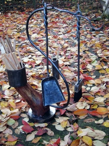 Fireplace Tool Set with Branch Stand - eclectic - fireplace accessories - redpigtools.com