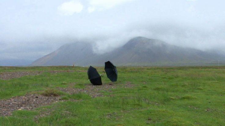 Zwei Schirme (Two Umbrellas, Iceland), 2009 © Roman Signer