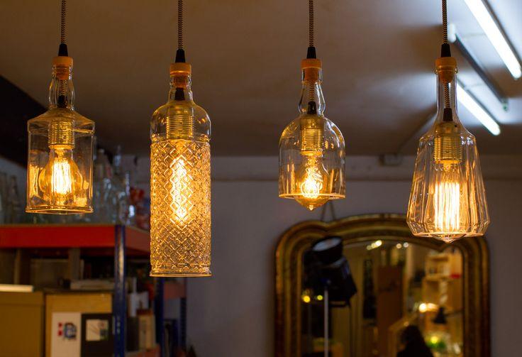 lampara, botellas recicladas, ecodiseño, Reez - Lampara con botellas recicladas de la serie ecodiseño de Reez