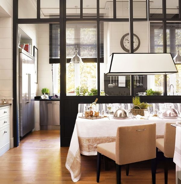A Modern Black And White Kitchen Dining Room Combination Has A Glass  Partition To Visually Separate The Work Spaces From The Dining Area. Part 92