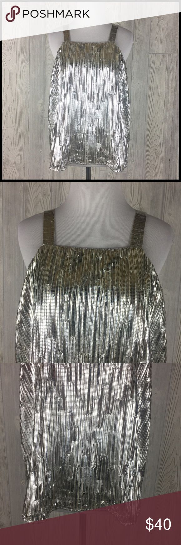 Anthro Maeve Medium Gold Silver Metallic Tank NWOT Anthropologie Maeve Shiny Metallic Dressy Tank Top Women's Size Medium  Brand new, never worn - does not have original tags, but still has TJMAXX tag attached. 100% Polyester Lining - 92% Nylon / 8% Spandex  Crinkle metallic fabric - I believe it's actually silver but the lining is tan/beige which gives the shirt a gold sheen Fully lined Fabric has a little bit of stretch  Measurements (in inches): Chest (armpit to armpit) - 19.75 Length…