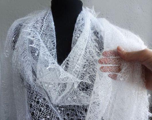 вязание спицами ажурный пуховый платок