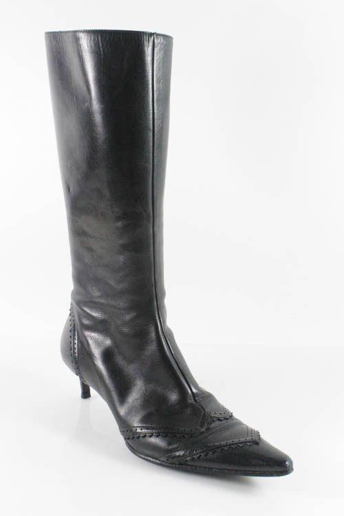 badgley mischka black leather knee high kitten heel boots
