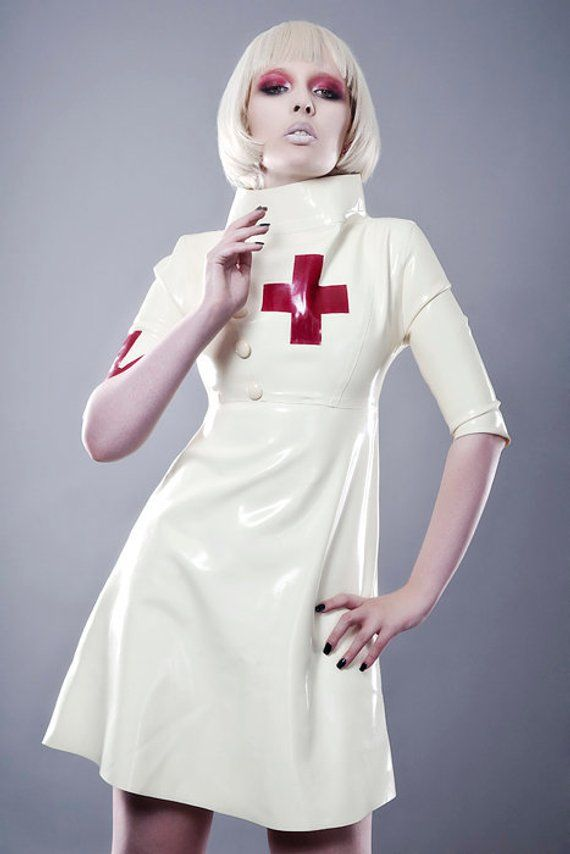 Latex Nurse Dress With Arm Band Detail In White With Red Cross Etsy