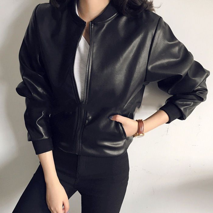 Ladies Faux Leather Jacket Zip Loose Biker Motorcycle Pu Coat Cardigan Top Black