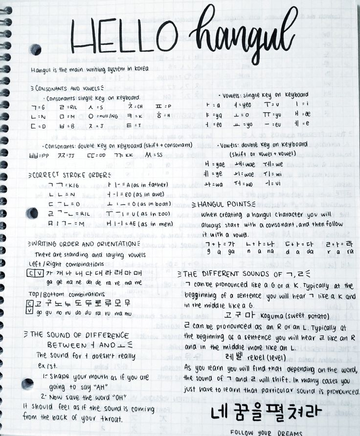 02.05.17 ~ 5℃☁️ Here are some hangul notes from when I started learning, some of you have asked me to send them to you, so I figured I should post them Those notes are from the Korean from zero...