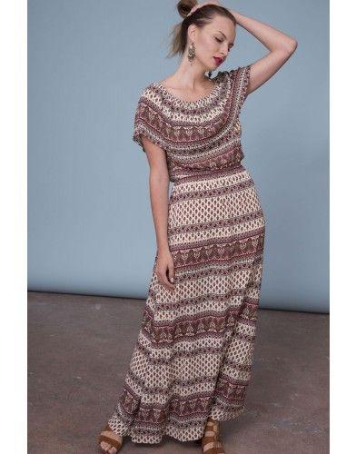 Letnia sukienka maxi - khaki/wino