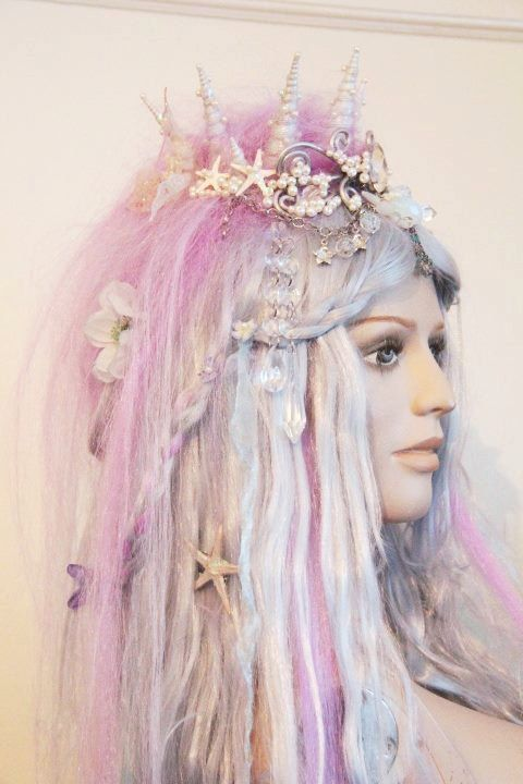 Mermaid Wig  Custom Made with Shell Crown  by GhouliaPeculiar
