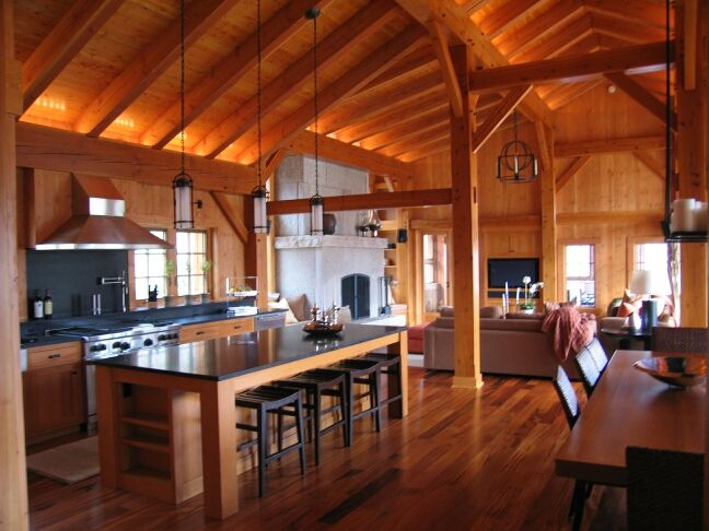 Log cabin.: Dreams Home, Dreams Kitchens, Dreams Houses, Northern Lights, Houses Ideas, Rustic Modern, Logs Cabins, Eating Houses, Timber Frames