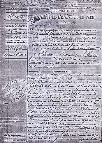 Acte de décès de Stendhal, 23 mars 1842