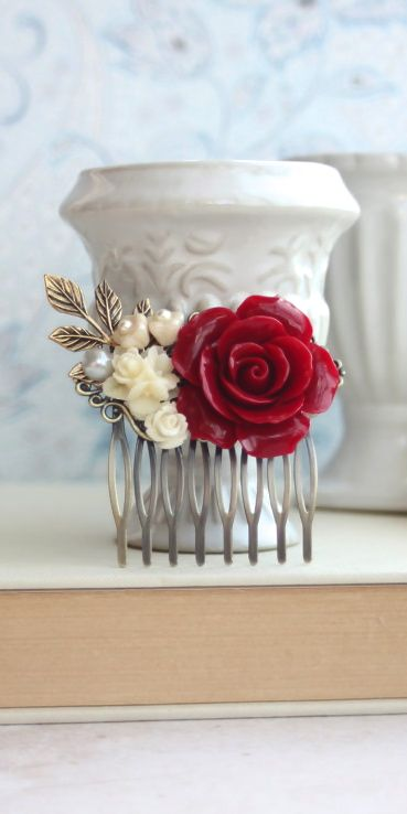 Dark Large Red Rose, Ivory Flowers, Pearl, Brass Leaf Hair Comb. Bridesmaid Gifts. Red Vintage Inspired Rustic Winter Wedding. Bridal Comb by Marolsha.