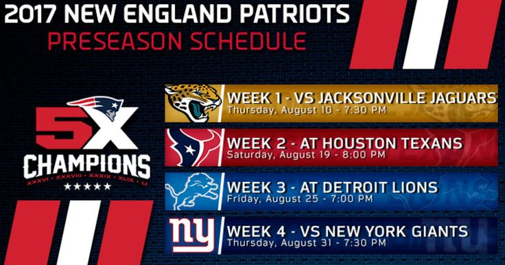 The New England Patriots have announced their preseason schedule for 2017.