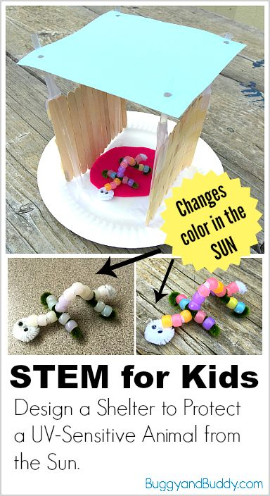 STEM Challenge for Kids: Design and build a structure to protect your animal craft (made with UV-sensitive beads) from the sun using recyclables! (Meets NGSS for kindergarten) ~ BuggyandBuddy.com