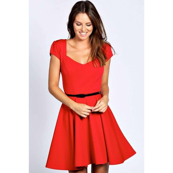 Boohoo Night Lara Sweetheart Neck Skater Dress ($35) ❤ liked on Polyvore featuring dresses, red, sparkly dresses, art deco dress, red skater dress, cap sleeve dress and red sweetheart dress
