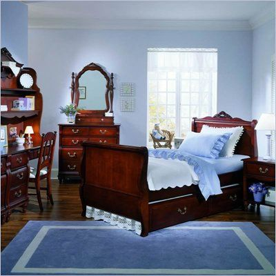 by stanley madison kids wood sleigh bed 5 piece bedroom set in cherry