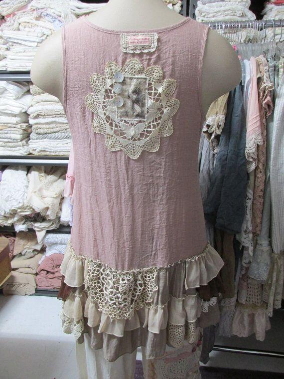 Vintage Kitty.. shabby chic, upcycled layered tunic #3..,vintage doilies,mushroom, natural, ecru, ruffles, layers.. size Medium