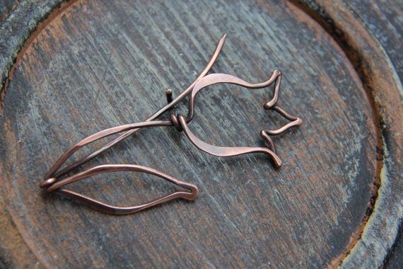 """Shawl pin, scarf pin, brooch, copper shawl pin """"Tulip"""" from """"Blooming"""" collection, copper brooch, flower, woodland, floral"""