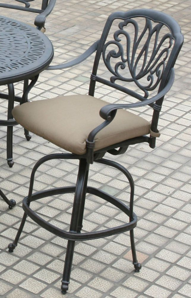 Patio Bar Stools Darlee, Elisabeth Antique Bronze Outdoor Barstools Aluminum