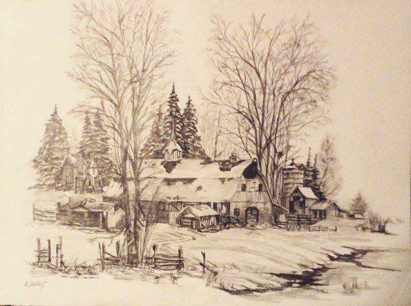 Winter scene done in pencil by Sheryl Gallant - http://sherylgallant.ca